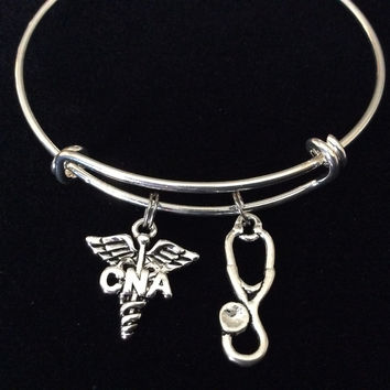 CNA ~ Certified Nurse Assistant Silver Charm Bangle Bracelet Expandable and Adjustable to of one size fits All