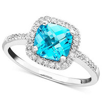 10k White Gold Ring, Blue Topaz (1-3/8 ct. t.w.) and Diamond (1/5 ct. t.w.) - Rings - Jewelry & Watches - Macy's