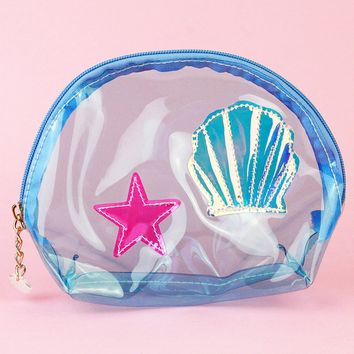 Mermaid Seashell Toiletry Bag (Blue)