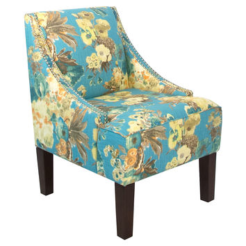 Cam Swoop-Arm Chair, Blue Floral, Accent & Occasional Chairs