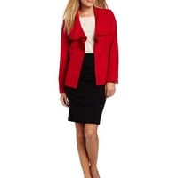 Alfred Dunner Women's Faux Suede Cascade Neck Jacket