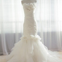 Luxe organza taffeta trumpet flowers wedding dress