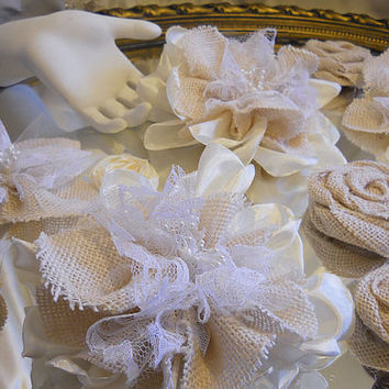 Ready to Ship! Set of 14 Country Burlap & Ivory Lace Flowers for weddings, bouquet making, wedding decor, cake toppers. FREE Shipping!