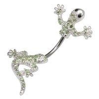 Body Accentz® Belly Button Ring Navel 316L Surgical Steel, Multigem, Lizard, In-N-Out, Animal, Split Belly Rings Body Jewelry Dangle 14 Gauge