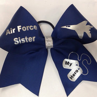Air Force Sister Cheer Bow (Customizable)