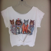 Cute tie up Cat belly shirt