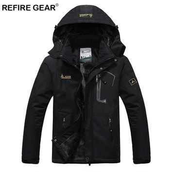 ReFire Gear Waterproof Outdoor Sport Hiking Jacket Men Winter Thermal Hooded Fleece Windbreaker Jackets Camping Skiing Mountain