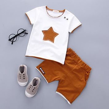 2PCS Suit Baby Boy Clothes Children Summer Toddler Boys Clothing set Cartoon 2018 New Kids Fashion Cotton Cute Stars Sets