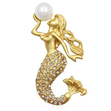 ON SALE - Mermaid & Pearl Crystal Encrusted Brooch Sweater Pin