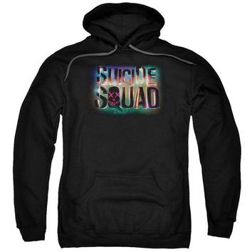 ac spbest Suicide Squad - Neon Logo Adult Pull Over Hoodie
