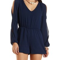 Chiffon Romper with Cut-Outs by Charlotte Russe - Navy