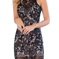 Black High Neck Backless Lace Sleeveless Dress