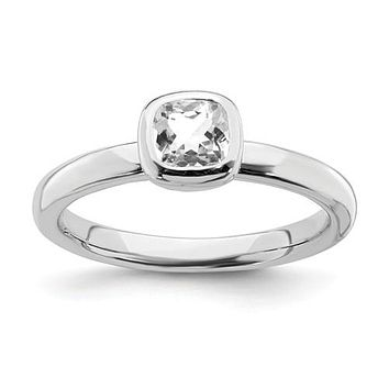 Sterling Silver Stackable Expressions Cushion Cut April White Topaz Ring