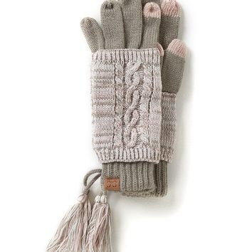 C.C. Beanies Marled Yarn Two-Piece Touch Gloves | Dillards