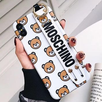 Moschino Tide brand Teddy Bear iPhone XS Max Mobile Shell Wristband Soft Case Cover white