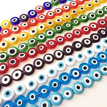 12mm flat round evil beads- Turkish evil eye- strand for red, yellow, green, blue, white