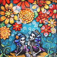 Sister Best Friend Day of the Dead art print Mexican Folk art decor. BFF gift support friendship same sex love card