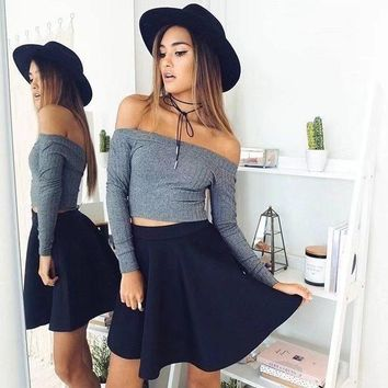 DCKL9 Simple Design Strapless Crop Top Slim Long Sleeve Tops T-shirts [256934510618]