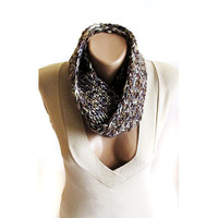 Brown hand knit cowl winter cowl neck warmer birthday gifts women's accessory fashion scarf christmas gifts long scarf