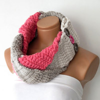 Ready to Ship: The Plait Scarf ~ Hand Knit Scarf- Braided Necklace Infinity Cowl with Horn Toggle Button in Natural Oatmeal,vanilla,pink.