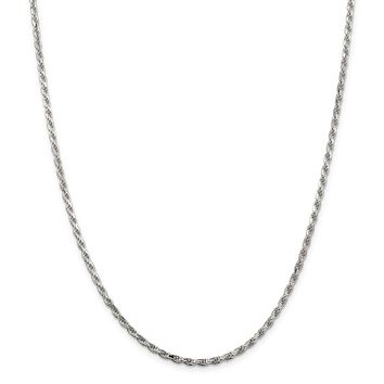 925 Sterling Silver 2.5mm Diamond-cut Rope Chain Necklace, Bracelet or Anklet