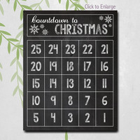 Christmas Advent Calendar, Christmas Countdown Calendar, Holiday Decor, Christmas Decor, Chalkboard Wall Art, YOU CHOOSE colors, Printable
