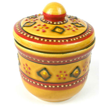 Hand-painted Mexican Ceramic Pottery Sugar Bowl in Red - Encantada