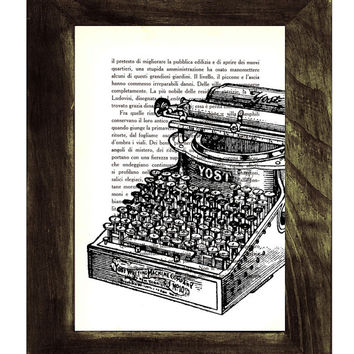 Vintage book Typewriter Machine ilustration printed on Vintage Book page BPTV100