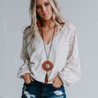 Pearle Embroidered Blouse - Vanilla