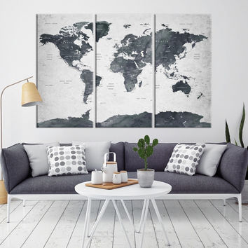 93677 - Large Wall Art World Map Canvas Print- Custom World Map Push Pin Wall Art- Custom World Map Canvas Poster Print- Personalized Wall Art