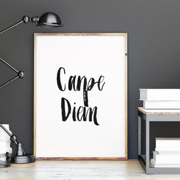 "Typography quote""Carpe Diem""motivational quote,wall art,inspirational art,apartment decor,quote print,housewarming,instant download"