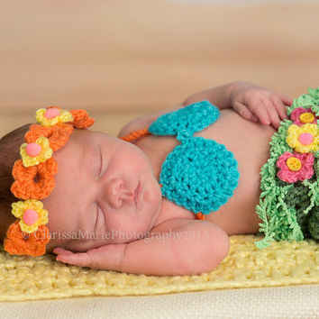 Baby girl crochet set, hula girl outfit, Hawaiian costume, baby floral props, baby diaper cover, baby bikini set, baby gift ideas 0-12 month