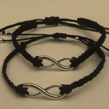 His and Hers Matching Infinity Couples Bracelets You Choose Color