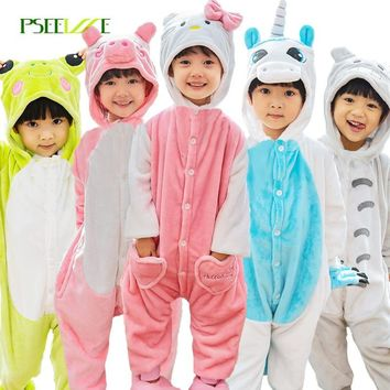 PSEEWE Cosplay Onesuit kids Flannel children's pajamas set Pikachu Totoro unicorn panda pajamas for boys girl sleepwear 4y-12y
