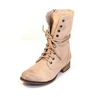 Steve Madden Troopa - Natural Leather Flat Combat Boot