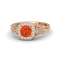 Round Fire Opal 18K Rose Gold Ring with Diamond