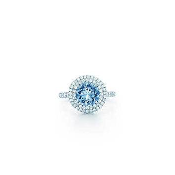 Tiffany & Co. - Tiffany Soleste® ring in platinum with a .70-carat aquamarine and diamonds.