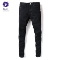 Fashion Streetwear Mens Jeans Knee Hole Black Color Elastic Stretch Denim Skinny Ripped Jeans Men DSEL Brand Ankle Zipper Jeans