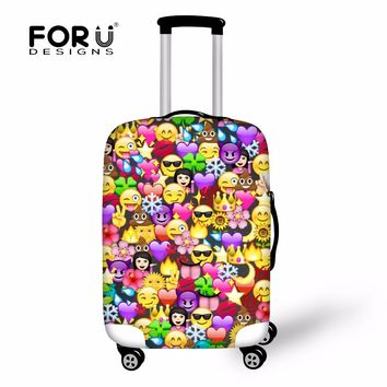 FORUDESIGNS Emoji Cute Luggage Cover Elastic Perfectly Suitcases Protective Covers Kawaii Anti Dust Zipper Closure New Design