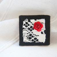 "Square black felt brooch with vintage lace and red rose detail, ""Snow White"""
