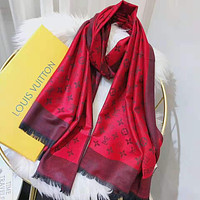 LV Fashionable Women Men Classic Louis Vuitton Cashmere Cape Scarf Scarves Shawl Accessories Red