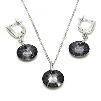 Sterling Silver Earring and Pendant Adult Set, with Swarovski Crystals, Rhodium Tone