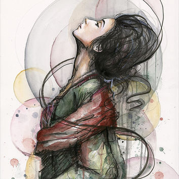 Beautiful Woman Illustration Art Print, Feminine Romantic Wall Art, Mixed Media Painting, Giclee Print