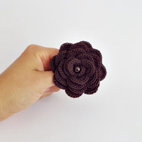 Chocolate brown rose brooch with natural garnet bead, crochet rose brooch, crocheted flower pin, birthstone accessory, autumn flowers