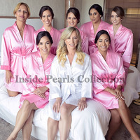 SHIPPED IN 48HRS Set of 7 or 8 Rhinestone Personalized Satin Robes Bride Bridesmaid wedding Gift dressing Gown Bridal Party Pink Fushcia