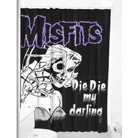 Sourpuss Misfits Die Die My Darling Shower Curtain | Punk Homewares