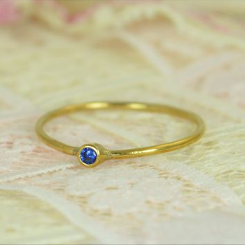 Tiny Solid 14k Gold Sapphire Wedding Ring Set