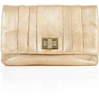 Anya Hindmarch Gold Roslyn Lamé Clutch