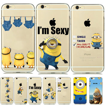 New Cartoon Clear Silicone Minion Case Cover for capinhas iphone 5 5S SE 6 6S 7 Despicable Me Yellow Minion Phone Covers Para