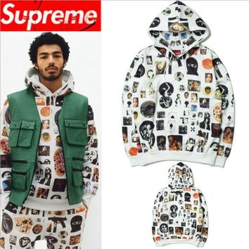ONETOW Supreme autumn and winter with graffiti covered print hooded sweater men and women hoodie couple fleece jacket